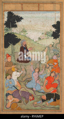 Moses praying to end the serpents' attack on the Israelites, from a Mir'at al-quds (Mirror of Holiness) of Father Jerome Xavier (Spanish, 1549–1617), 1602-1604. Northern India, Uttar Pradesh, Allahabad, Mughal period. Opaque watercolor, ink, color and gold on paper
