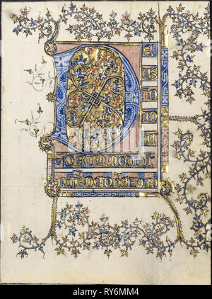 Leaf from a Book of Hours: Initial D, c. 1400. France, probably Soissons, 15th century. Ink, tempera and gold on vellum; leaf: 15.5 x 11.5 cm (6 1/8 x 4 1/2 in - Stock Photo