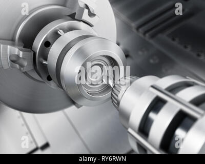 Closeup of generic CNC drill equipment. 3D illustration. - Stock Photo