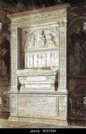 Rome Italy 1875 Tomb of Cardinal Ferrici at the Minerva - Stock Photo