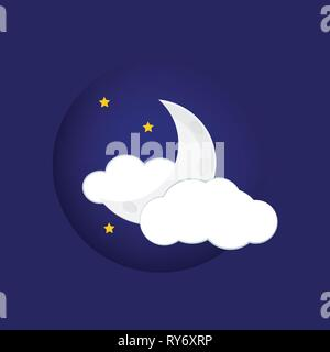 Mystical Night sky background with half moon, clouds and stars. Moonlight night - Stock Photo