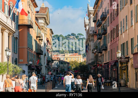 Nice, OCT 20: The Cascade Du Casteu waterfall in Castel Hill with cityscape on OCT 20, 2018 at Nice, France - Stock Photo