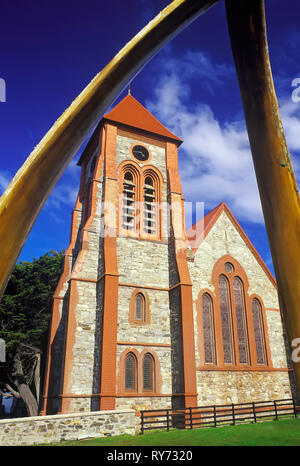 Christ Church cathedral, Stanley, East Falkland, Falkland Islands, South America - Stock Photo