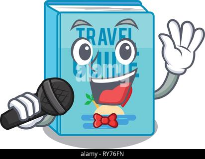 Singing travel guide book placed rack character - Stock Photo