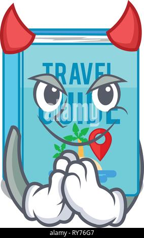 Devil travel guide book placed rack character - Stock Photo