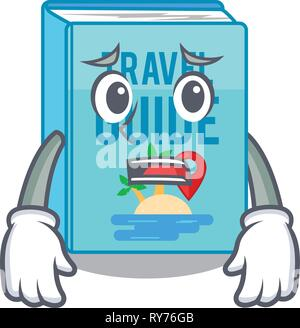 Afraid travel guide book placed rack character - Stock Photo