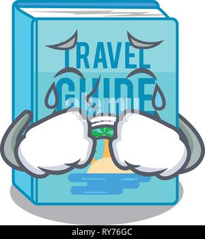 Crying travel guide book placed rack character - Stock Photo