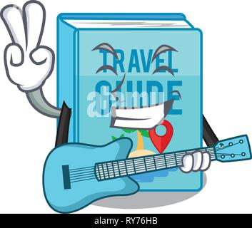 With guitar travel guide book placed rack character - Stock Photo