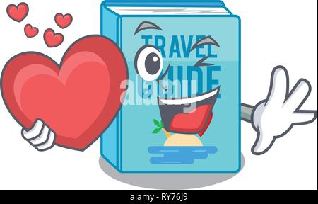 With heart travel guide book placed rack character - Stock Photo