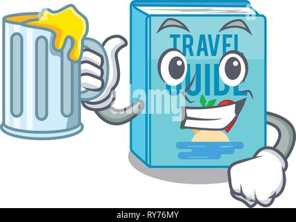 With juice travel guide book placed rack character - Stock Photo