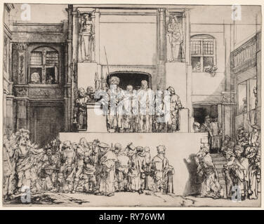 Ecce Homo. Christ Presented to the People, 1655. Rembrandt van Rijn (Dutch, 1606-1669). Drypoint; sheet: 36.1 x 45.6 cm (14 3/16 x 17 15/16 in.); platemark: 35.9 x 45.6 cm (14 1/8 x 17 15/16 in - Stock Photo