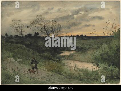 Dawn--Hunter with Dog, 1882. Henri Joseph Harpignies (French, 1819-1916). Watercolor; sheet: 37.6 x 53.5 cm (14 13/16 x 21 1/16 in - Stock Photo