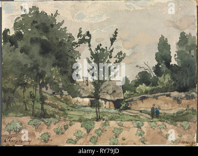 Landscape with Farmhouse, 1892. Henri Joseph Harpignies (French, 1819-1916). Watercolor with graphite underdrawing; sheet: 12 x 16.9 cm (4 3/4 x 6 5/8 in - Stock Photo
