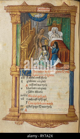 Printed Book of Hours (Use of Rome): fol. 13v, December calendar page - Stock Photo