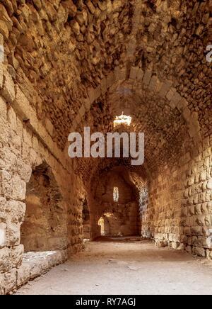 Kerak Castle, interior, Al-Karak, Karak Governorate, Jordan - Stock Photo