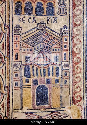 Mosaic Floor in Umm ar-Rasas, Amman Governorate, Jordan - Stock Photo