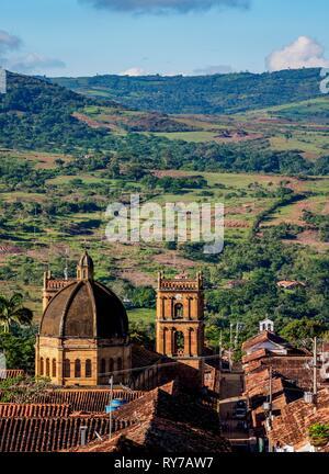 View towards Catedral de La Inmaculada Concepcion, Barichara, Santander Department, Colombia - Stock Photo