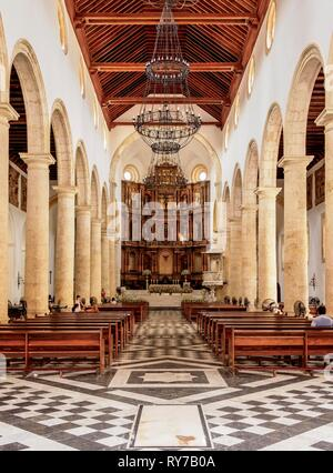 Metropolitan Cathedral Basilica of Saint Catherine of Alexandria, interior, Cartagena, Bolivar Department, Colombia - Stock Photo