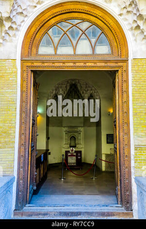 Tehran Masoudieh Palace Open Entrance Doors Front View - Stock Photo