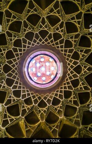 Kashan Boroujerd Historical House Ceiling Round Holes Window - Stock Photo