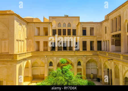 Kashan Boroujerd Historical House Courtyard Facade Back View - Stock Photo