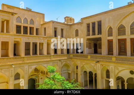 Kashan Boroujerd Historical House Courtyard Facade Side View - Stock Photo