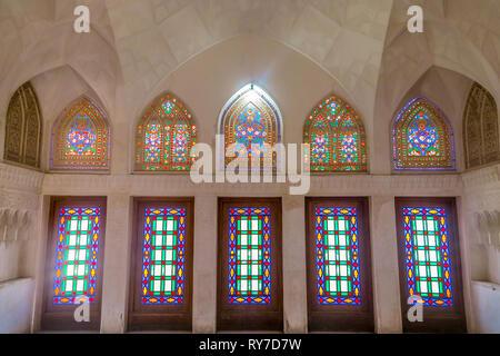 Kashan Boroujerd Historical House Ornament Colorful Glass Windows - Stock Photo