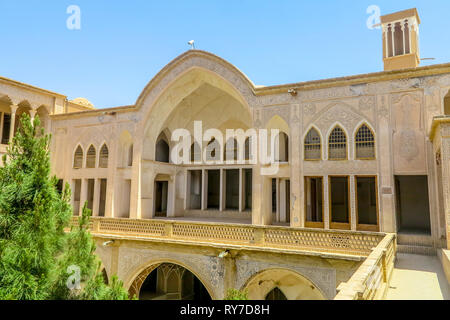 Kashan Boroujerd Historical House Courtyard Portal with Windcatcher Tower - Stock Photo