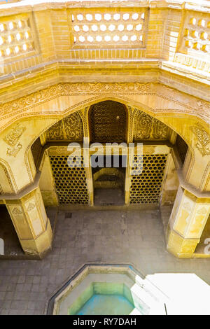 Kashan Boroujerd Historical House Courtyard Facade Carvings - Stock Photo