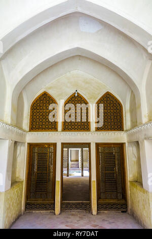 Kashan Boroujerd Historical House Ornament Colorful Glass Windows and Portal - Stock Photo