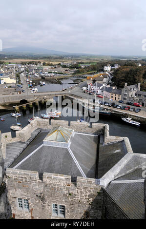 From the battlements of Castle Rushen in the centre of Castletown on the south coast of the Isle of Man, Britain   The Isle of Man with its capital ci - Stock Photo