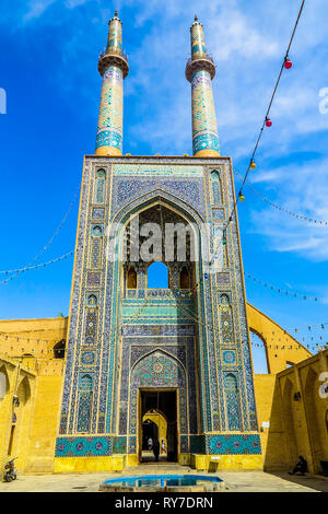 Yazd Masjid-e Jameh Mosque Main Entrance Iwan with Tallest Minaret in Iran View Point - Stock Photo
