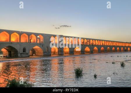 Isfahan Allahverdi Khan Si-o-Seh Pol 33 Arches Bridge During Sunset - Stock Photo