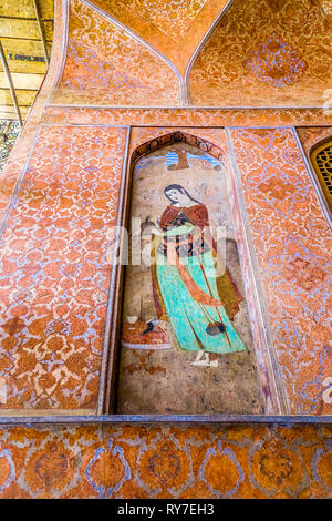 Isfahan Ali Qapu Royal Palace Terrace Balcony with Medieval Artistic Image of a Persian Noble Woman - Stock Photo