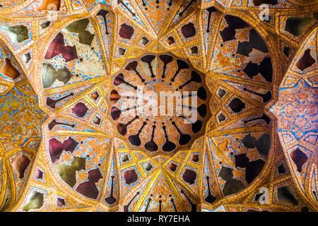 Isfahan Ali Qapu Royal Palace Music Art Room Ornament Ceiling - Stock Photo