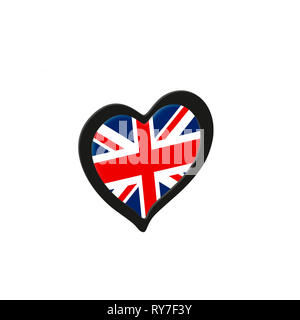 United Kingdom Flag Inside Heart. Eurovision Song Contest concept on a white background. 3d Rendering - Stock Photo