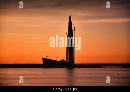 ST. PETERSBURG, RUSSIA - May 5, 2018: Single Modern Skyscraper Architecture Building in Gulf of Kronstadt . Lakhta Center, Headquarters of Gazprom Com - Stock Photo