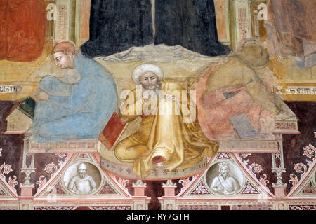 The Triumph of St. Thomas Aquinas with heretics, doctors, Virtues, fresco in Santa Maria Novella Principal Dominican church in Florence - Stock Photo