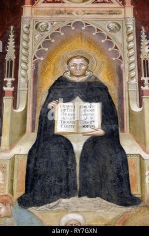 Saint Thomas Aqinas, detail of the Triumph of St. Thomas Aquinas, fresco by Andrea di Buonaiuto, Santa Maria Novella Dominican church in Florence - Stock Photo