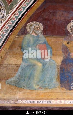 Job, detail of the Triumph of St. Thomas Aquinas, fresco by Andrea di Buonaiuto, Spanish Chapel in Santa Maria Novella Dominican church in Florence - Stock Photo