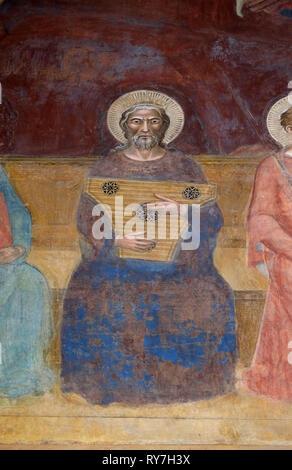 David, detail of the Triumph of St. Thomas Aquinas, fresco in Santa Maria Novella Principal Dominican church in Florence - Stock Photo