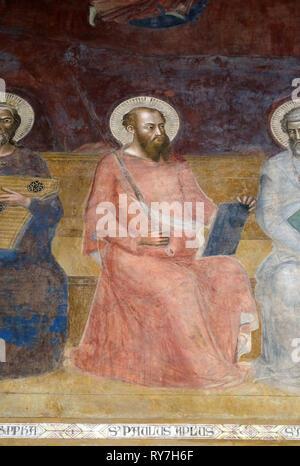 Saint Paul, detail of the Triumph of St. Thomas Aquinas, fresco by Andrea di Buonaiuto, Spanish Chapel in Santa Maria Novella Principal Dominican chur - Stock Photo