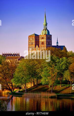 evening scene with skyline of historic Stralsund - Stock Photo