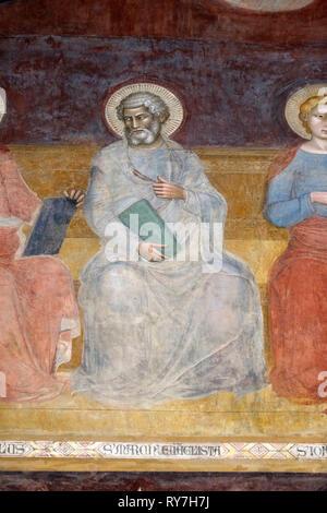 Saint Mark Evangelist, detail of the Triumph of St. Thomas Aquinas, fresco by Andrea di Buonaiuto, Spanish Chape in Santa Maria Novella Principal Domi - Stock Photo