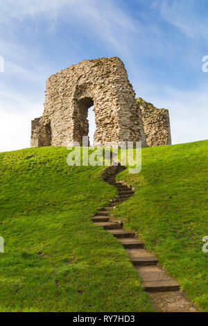 Remains ruins of Christchurch Castle at Christchurch, Bournemouth, Dorset UK in March - Stock Photo