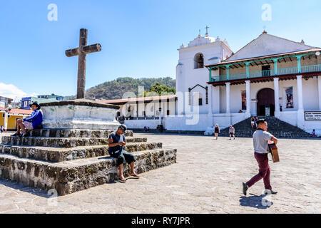 Santiago Atitlan, Lake Atitlan, Guatemala - March 8, 2019: Catholic church & plaza in lakeside town in Guatemalan highlands. - Stock Photo