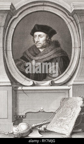 Sir Thomas More, aka Saint Thomas More, 1478 -1535.  English lawyer, social philosopher, author, statesman, and noted Renaissance humanist.  From the 1813 edition of The Heads of Illustrious Persons of Great Britain, Engraved by Mr. Houbraken and Mr. Vertue With Their Lives and Characters. - Stock Photo