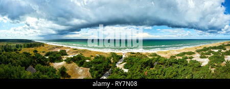 view from lighthouse Darsser Ort to baltic sea beach - Stock Photo