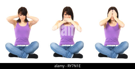 A young woman imitates the famous three monkeys. She covers her ears, mouth and eyes. Isolated against a white background. - Stock Photo