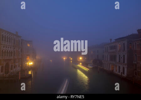Fog in Venice, night shot - Stock Photo